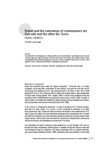 Brandi and the restoration of contemporary art. One side and the other the Teoria