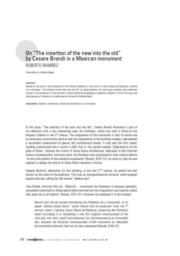 """On """"The insertion of the new into the old"""" by Cesare Brandi in a Mexican monument"""
