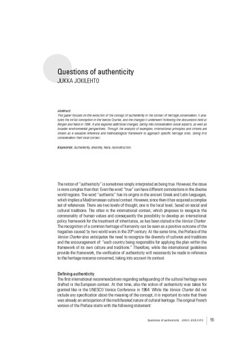 Questions of authenticity
