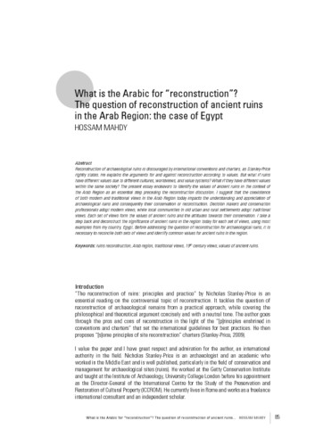 "What is the Arabic for ""reconstruction""? The question of reconstruction of ancient ruins in the Arab Region: the case of Egypt"
