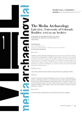 The Media Archaeology Lab (MAL, University of Colorado Boulder, USA) as an Archive