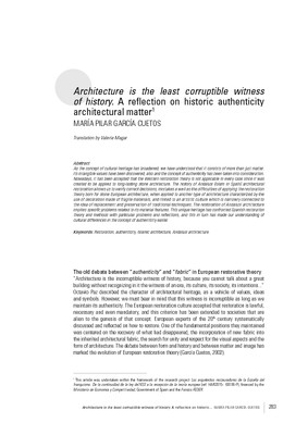 Architecture is the least corruptible witness of history. A reflection on historic authenticity architectural matter