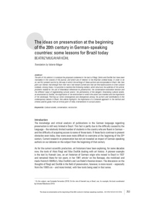 The ideas on preservation at the beginning of the 20th century in German-speaking countries: some lessons for Brazil today