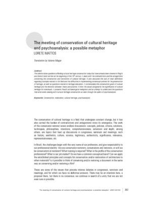 The meeting of conservation of cultural heritage and psychoanalysis: a possible metaphor